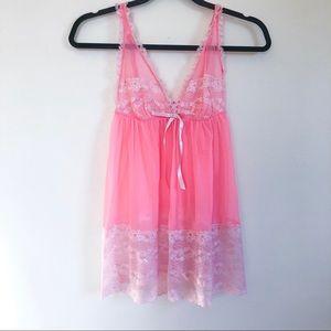 victoria's secret   sheer pink chemise nightie sm